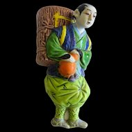 Japanese Banko Ceramic Man Figural Wall Pocket Vase