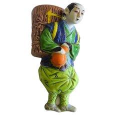 Japanese Banko Ceramic Man Figural Wall Pocket Vase