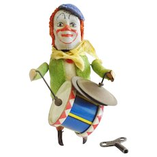 Schuco Monkey Clown Drummer Cymbals Windup Toy