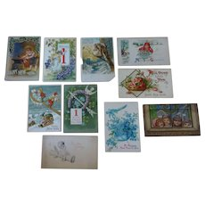 Postcards- 10  New Years' cards,  early 1900s