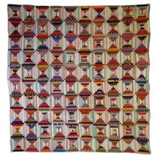 A very pretty Quilt---antique Log Cabin late 1800s