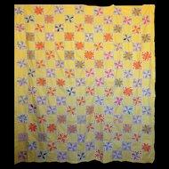 Quilt TOP  LeMoyne Star 1930's Feed sack prints calm yellow background
