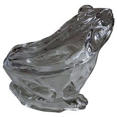 19c  Toad Frog  Glass Covered Butter DishTrinket Box   most likely  Vallerysthal