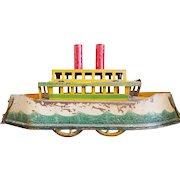 German Tin Boat on wheels c. 1916  Folk Art Toy