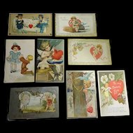 Old Valentine Post Cards 8 pcs c1910