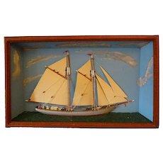 Ship Diorama- Tramp art frame  c. 1900 - Red Tag Sale Item