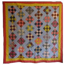 Antique Quilt- Lovely Pennsylvania Dutch Colors - Red Tag Sale Item