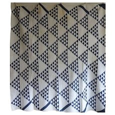 Quilt Antique Indigo and White late 1800