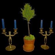 Figural Brass Candlesticks Judaica