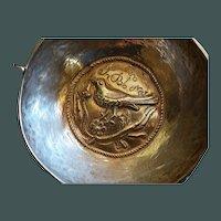 Bird motif Spanish Colonial 2-handled  Silver dish  19th c.