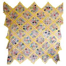 Vintage YoYo Coverlet..feed sack prints - Red Tag Sale Item