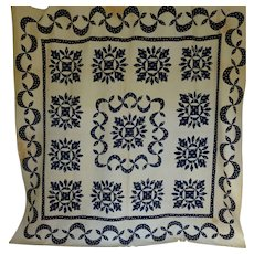 Antique Quilt Up-State NY Applique Navy & White c1850 TLC Provenance - Red Tag Sale Item