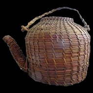 Basket Teapot--Old folk art woven