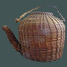 Basket Teapot--Old folk art woven