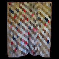 "Antique Hexagon Quilt 60""x80"" ~ great Calicos"
