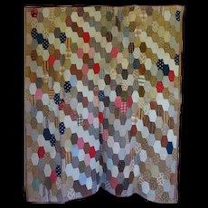 """Antique Hexagon Quilt 60""""x80"""" ~ great Calicos"""