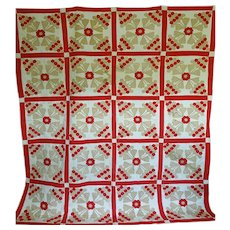 19th c. Quilt Applique Grapes & Flowers- T-red and beige