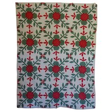 Antique Applique Rose of Sharon Quilt -- Bold and 'different' - Red Tag Sale Item