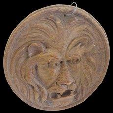 Carved wooden Lion Face--fierce folk art