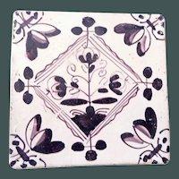 Delft Tile- OLD - purple brown c. 1700s