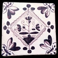 Delft Tile- OLD - purple brown c. 1700s