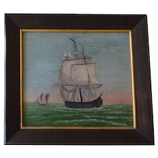 """Old Ship Oil Painting--nicely framed 14.5""""x13"""""""