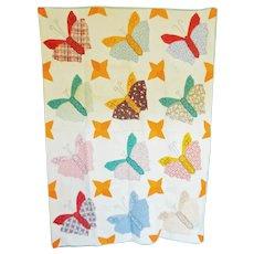 Vintage 30's Butterfly Applique Charm Quilt