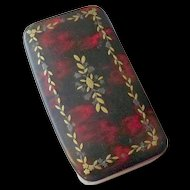 18th Century Handmade Papier-mâché on wood painted Snuff Box with Brass and Pewter inlay