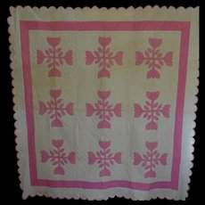 Vintage 30's appliqued Tulip Quilt--expert quilting -- unused - Red Tag Sale Item