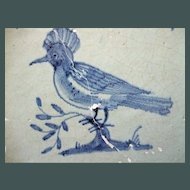Antique Delft Tile  Bird 17th c