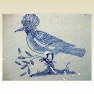 Antique Delft Tile  Bird 17th c
