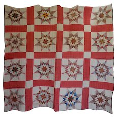1800's STAR Quilt great  o l d  cotton prints - Red Tag Sale Item