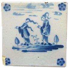Antique Dutch Delft TILE , Chinese Couple 17th century