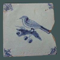 Antique Delft Tile Bird and Grapes