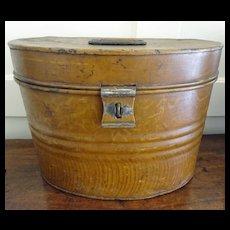 Victorian Hat Box  Painted Tin  c. 1870