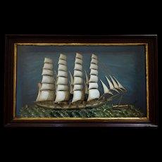 Victorian Ship Diorama- 4-masted Schooner - pretty frame