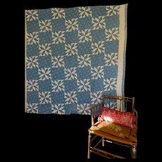Old Quilt LeMoyne Star in a pretty shade of indigo