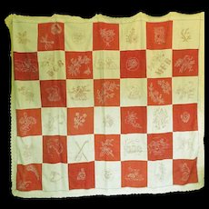 Antique Red Work Quilt Coverlet Exceptionally fine