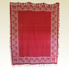 "Victorian Red and white Damask Tablecloth ""Iris"" Reversable"