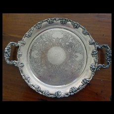Old Round Fancy Heavy Silverplate Tray Ornate Silver