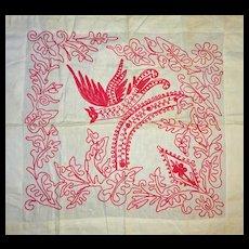 Redwork Imaginary- BIRD pillow sham layover
