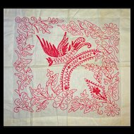 Redwork Imaginary- BIRD pillow sham layover
