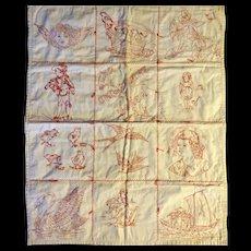 Redwork Crib Quilt c.1900 Fine Stitching