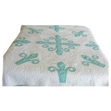 Vintage 30's Applique Quilt--Jade Green