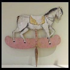 Wooden Horse Sign Placard Folk Art puppet