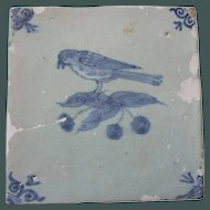 Antique Delft Tile Bird and cherries