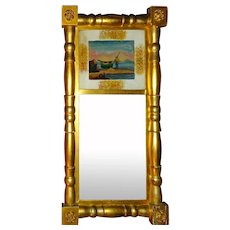 Federal Mirror Reverse painted maritime American 19th c
