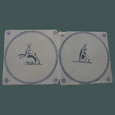Antique Delft Tile Pair  animals playing
