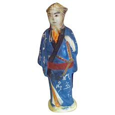 Old wounded Samurai Figure Banko Pottery