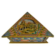 Triangle Wood Box covered with nice lithograph designs